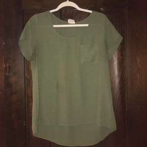 Army green flowy top